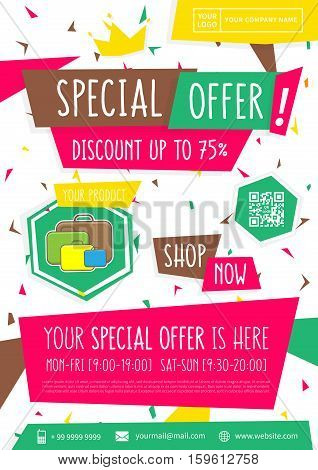 promotion banner special offer vector illustration advertising poster design a4 size ready to print