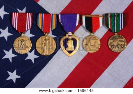 American War Medals On A Flag Background