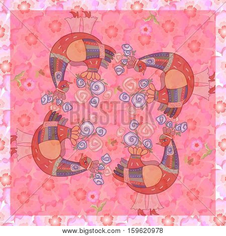 Lovely tablecloth. Romantic bandana print with fantasy roosters. Kerchief square pattern design style for print.