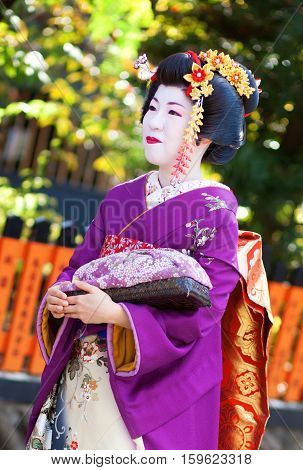 Kyoto, Japan - November 8, 2011: Young Maiko In Traditional Clothes Attending The Annual Kanikakni F