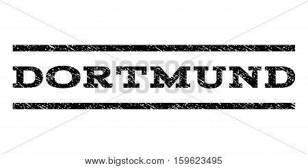 Dortmund watermark stamp. Text caption between horizontal parallel lines with grunge design style. Rubber seal black stamp with unclean texture. Vector ink imprint on a white background.