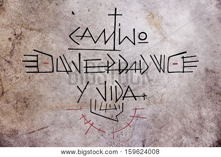 Hand drawn illustration or drawing of Jesus Christ phrase in spanish: Camino Verdad y Vida wich means: Path Truth and Life