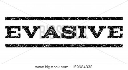 Evasive watermark stamp. Text caption between horizontal parallel lines with grunge design style. Rubber seal black stamp with dirty texture. Vector ink imprint on a white background.
