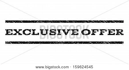 Exclusive Offer watermark stamp. Text tag between horizontal parallel lines with grunge design style. Rubber seal black stamp with dirty texture. Vector ink imprint on a white background.