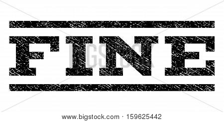 Fine watermark stamp. Text tag between horizontal parallel lines with grunge design style. Rubber seal black stamp with dirty texture. Vector ink imprint on a white background.