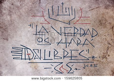 Hand drawn illustration or drawing of Jesus Christ phrase in spanish: La Verdad os hara libres wich means: Truth will set you free