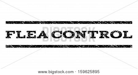 Flea Control watermark stamp. Text caption between horizontal parallel lines with grunge design style. Rubber seal black stamp with unclean texture. Vector ink imprint on a white background.