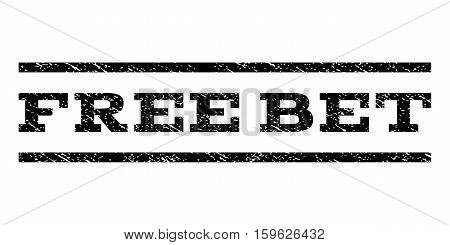 Free Bet watermark stamp. Text caption between horizontal parallel lines with grunge design style. Rubber seal black stamp with dust texture. Vector ink imprint on a white background.