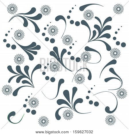 Cute pattern with various naive plants and contours of flowers on a white background