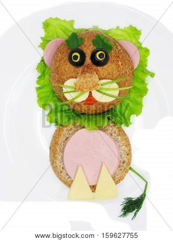creative sandwich with cheese and salame lion shape