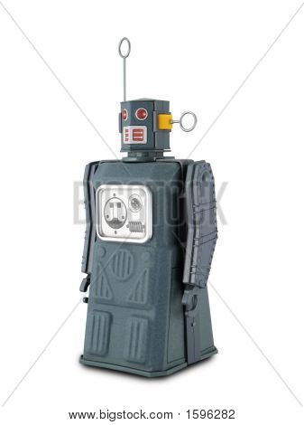 Gray Tin Toy Robot