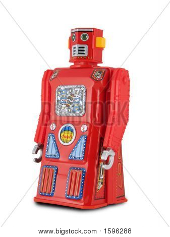 Red Tin Toy Robot