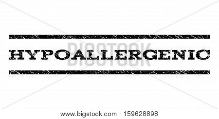 Hypoallergenic watermark stamp. Text caption between horizontal parallel lines with grunge design style. Rubber seal black stamp with unclean texture. Vector ink imprint on a white background.