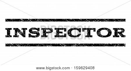 Inspector watermark stamp. Text tag between horizontal parallel lines with grunge design style. Rubber seal black stamp with dust texture. Vector ink imprint on a white background.