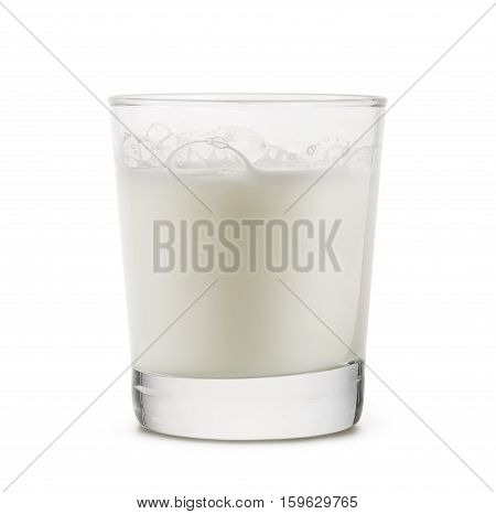 glass cup full of milk on white background