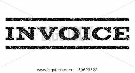 Invoice watermark stamp. Text caption between horizontal parallel lines with grunge design style. Rubber seal black stamp with scratched texture. Vector ink imprint on a white background.