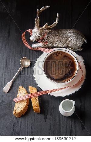 Traditional Italian Food. Cantuccini Cookies With Black Coffee I