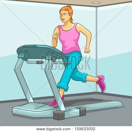 Female Running on Treadmill. Best for Health, Fitness, Beauty, Sports and Exercise Concept.