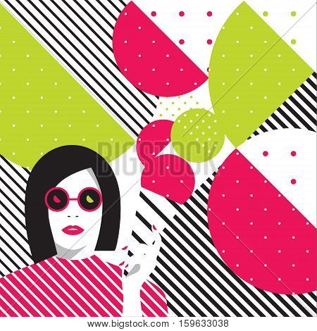 girl in glasses with icecream on abstract background