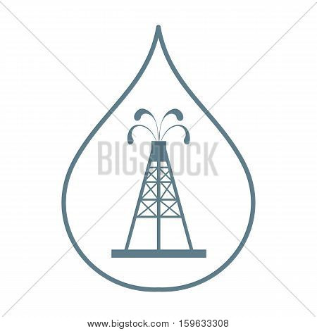 Stylized Icon Of The Silhouette Oil Rig With Fountains Spurting Up Oil With Oil In The Fuel Drop