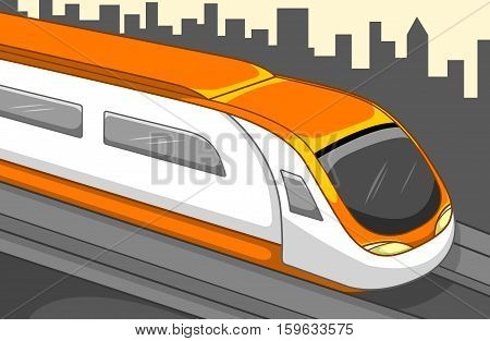 Fast train with buildings background. Best for Transportation, Travel, City Concept.
