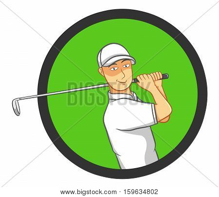 Male golf player playing golf making a perfect golf swing. Best for logo, golf, sports, leisure concept.