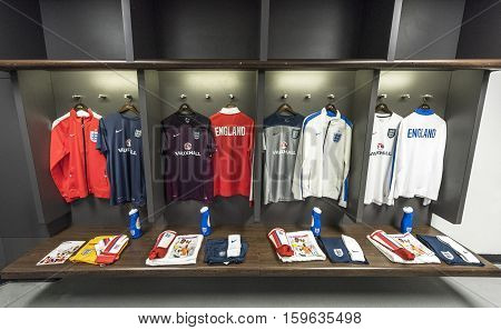 London, The Uk - May 2016: In The Changing Room Of Wembley Stadium