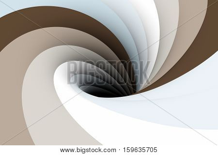 black hole in white and beige color 3D illustration
