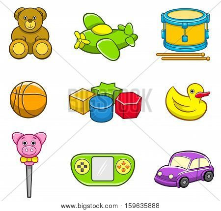 Vector collection of toy icon set for kids. Best for toys, kids, gifts, childhood, learning concept.