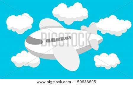 Vector Illustration of funny cartoon Airplane. Best for Travel, Transportation, Aerospace concept.