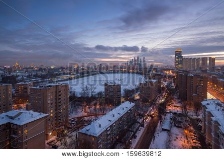 Residential district, racetrack in Moscow, Russia at winter, evening view