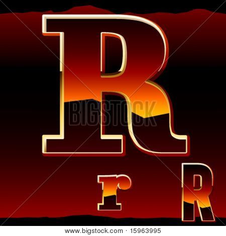 Dramatic Dark Sunset Styled Alphabet Letter R