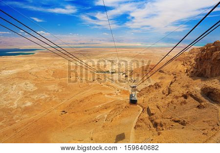 view of Cable car in fortress Masada Israel
