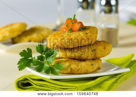 Vegetarian hamburger patties made with rice and chickpeas.