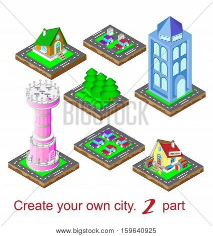 Create your own city. The second partVector illustration. Isometric view