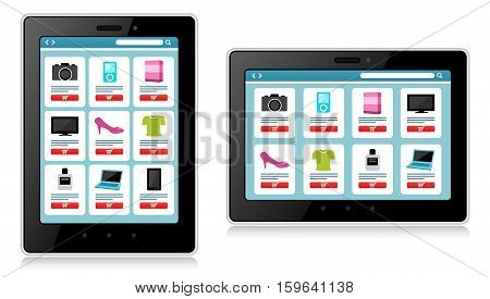 A vector Illustration of Online Shopping in a Mobile Device. Best for Business, E-commerce, Technology, Communication concept.