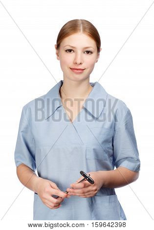 Young beautiful smiling woman neurologist in blue doctor's smock with reflex hammer isolated on white background.