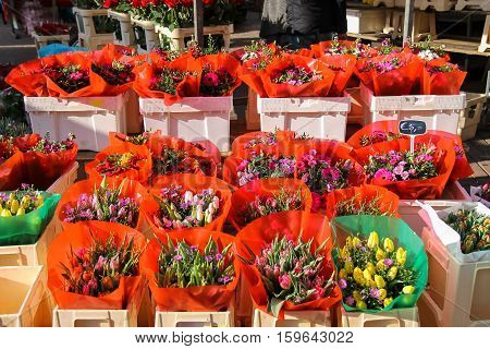 Street flower shop with colourful tulip bouquets. Utrecht the Netherlands