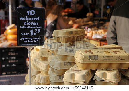 Utrecht the Netherlands - February 13 2016: Eggs in a carton on the counter