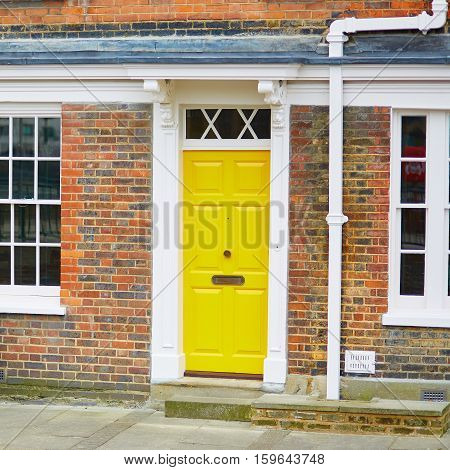 Typical House In London With Yellow Door