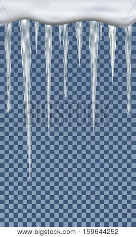 Realistic icicles on transparent background vector illustration.