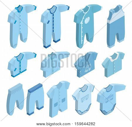 Isometric icon set children's clothes for newborn baby boy on white background. Overalls shirt rompers pants and baby's loose jacket. Collection blue clothing. Vector 3d illustration.
