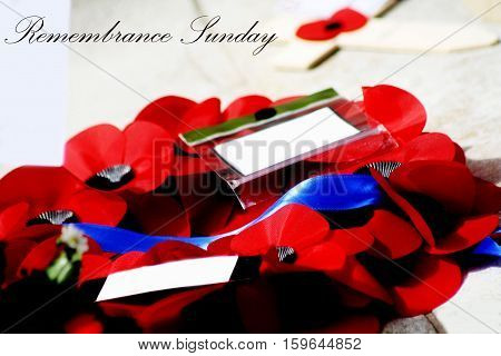 Abstract Creative Remembrance Sunday Greeting Poppy Scene