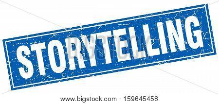 storytelling. square. stamp. grunge. vintage. sign. Isolated