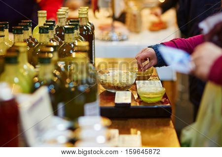 Woman Degusting Fresh Organic Olive Oil