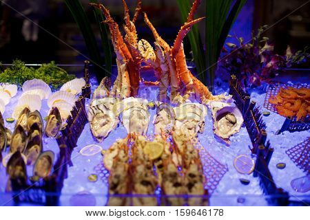 Seafood buffet on ice in a restaurant