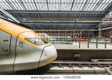 LONDON,THE UK-MAY 2016: modern Eurostar trains at Paddington station