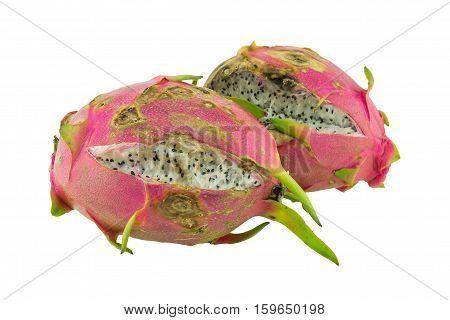Rotten dragon fruit isolated on white background