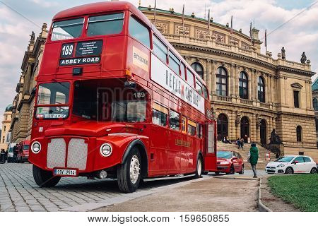 Prague, Czech Republic - OCTOBER 15 : Famous London red bus AEC Routemaster as a Cafe Bus near the Czech Philharmonic on October 15, 2016 in Prague, Czech Republic.