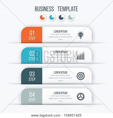Modern infographics options template with paper sheets, icons for 4 options. Vector. Can be used for web design and workflow layout